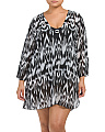 Plus Sarah Print V Neck Cover-up