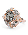 Made In Italy Rose Gold Plate Sterling Silver Pearl Crystal Ring