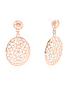 Made In Italy Rose Plated Sterling Silver Filigree Earrings