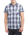 Rolled Short Sleeve Plaid Shirt