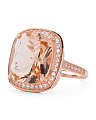 Rose Gold Plated Sterling Silver Morganite And Cubic Zirconia Ring