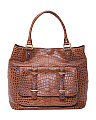 Croc Embossed Leather Tote
