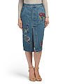 Juniors Patched Denim Midi Skirt