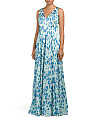 V Neck Printed Gown