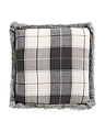 20x20 Faux Fur Trim Plaid Pillow