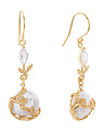 Made In Israel Gold Plate Sterling Silver Cz Pearl Earrings