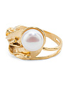 Made In Israel Gold Plate Sterling Silver Pearl Ring