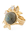 Made In Israel Gold Plate Sterling Silver Cz Labradorite Ring