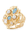 Made In Israel Gold Plated Sterling Silver Opal Pearl Ring