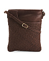 Split Pocket Woven Leather Crossbody