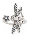 Made In India Sterling Silver Dragonfly Flower Open Ring