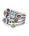 Made In India Sterling Silver Multi Gemstone Stacked Ring