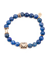 Lapis And Bronze Stretch Bracelet