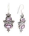 Made In India Sterling Silver Double Gemstone Earrings