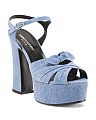 Made In Italy Denim Platform Sandals