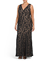 Plus V-neck Lace Gown
