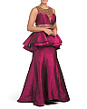Plus Illusion Inset Silk Peplum Gown