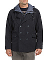 Cotton Canvas Pea Coat With Bib