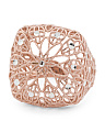 Made In Italy Rose Gold Plated Sterling Silver Flower Ring