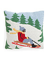 16x16 Hand Hooked Sled Pillow