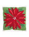 16x16 Hand Hook Poinsettia Pillow