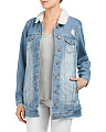 Juniors Sherpa Lined Denim Jacket