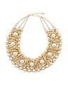 Gold Wide Pearl Collar Necklace