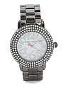 Women's Crystal Bezel Gunmetal Bracelet Watch