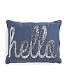 14x18 Sequined Hello Pillow