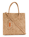 Made In Italy Leather Laser Cut Rose Square Tote