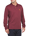 Long Sleeve Interlock Heather Polo
