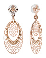 Made In Israel Rose Gold Plated Crystal Ellipse Earrings