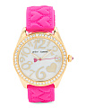 Women's Crystal Bezel Heart Print Silicone Strap Watch
