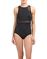 High Neck One-piece Swimsuit With Mesh
