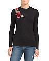Rose Applique Pullover Sweater