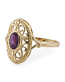 Made In Spain 14k Gold Amethyst Filigree Ring