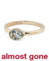 Made In Spain 14k Gold Blue Topaz East West Pear Ring