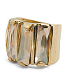 Made In Israel 14k Gold Plated Silver Crystal Golden Shadow Ring