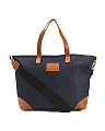 Made In USA Denim Tote With Leather Trim