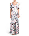 Swirl Printed Cold Shoulder Gown