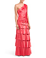 One Shoulder Tiered Satin Gown