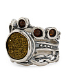 Made In Israel Sterling Silver Gold Drusy Ring