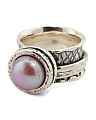 Made In Israel Sterling Silver Lilac Pearl Spinner Ring