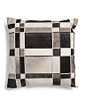 22x22 Cow Hide Patchwork Pillow