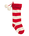Red Knit Striped Stocking With Poms