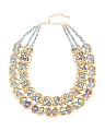 2 Row Ab Crystal Gold Collar Necklace