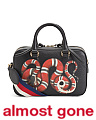 Made In Italy Leather Snake Motif Satchel