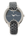 Women's Swiss Made Diamond Bezel Snakeskin Strap Watch