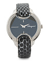 Womens' Swiss Made Diamond Bezel Snakeskin Strap Watch