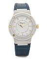 Women's Swiss Made F80 Diamond Marker Leather Strap Watch
